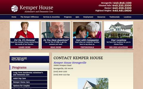 Screenshot of Contact Page Locations Page kemperhouse.com - Locations | Cleveland Alzeheimer's & Dementia Care - captured Oct. 23, 2014
