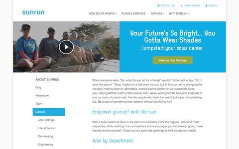 Screenshot of Jobs Page sunrun.com - Solar Energy Careers at Sunrun - captured March 31, 2016