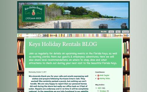 Screenshot of Blog keysholidayrentals.com - BLOG - Key Largo Vacation Homes - Islamorada Condos - Keys Holiday Rentals - captured Oct. 17, 2017