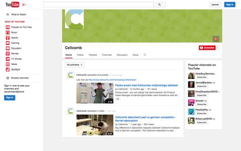 Screenshot of YouTube Page youtube.com - Cellcomb  - YouTube - captured Oct. 22, 2014