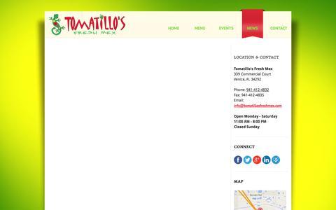Screenshot of Press Page tomatillosfreshmex.com - Blog   Tomatillos Fresh Mex Restaurant   Venice Florida - captured Sept. 30, 2014