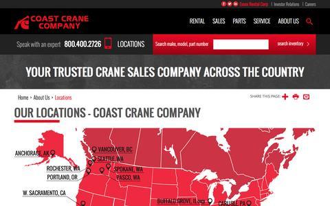 Screenshot of Locations Page coastcrane.com - Our Locations - Coast Crane Company - captured Nov. 8, 2016
