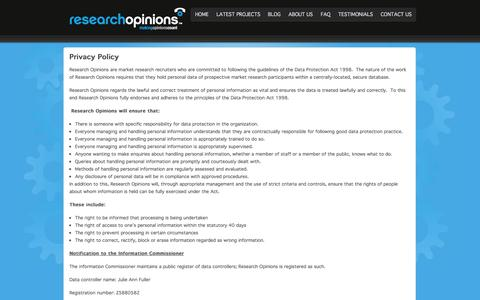 Screenshot of Privacy Page researchopinions.co.uk - Privacy Policy - captured Nov. 4, 2014