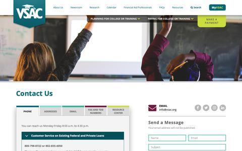 Screenshot of Contact Page vsac.org - Contact Us | VSAC - captured Nov. 4, 2018