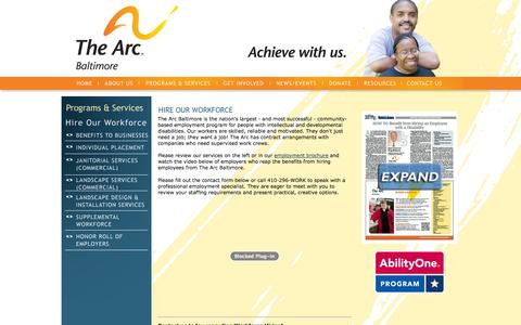 Screenshot of Landing Page thearcbaltimore.org - The Arc Baltimore - For people with intellectual and developmental disabilities - captured Oct. 27, 2014