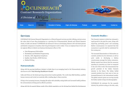 Screenshot of Services Page clinireach.in - .::Welcome to CLINiREACH ® ::. - captured Oct. 8, 2014
