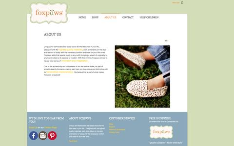 Screenshot of About Page foxpawsshoes.com - About Us - captured Nov. 3, 2014