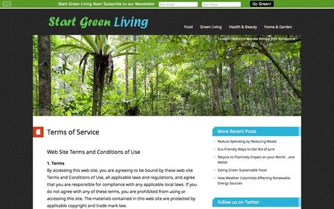 Screenshot of Terms Page startgreenliving.com - Terms of Service – Start Green Living - captured Sept. 30, 2014