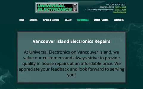 Screenshot of Testimonials Page universalelectronics.ca - Universal | TESTIMONIALS - captured Oct. 20, 2018