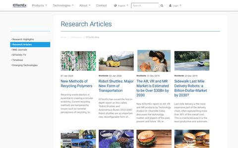 Screenshot of Blog idtechex.com - IDTechEx Blog - Research Articles in RFID, Printed and Organic Electronics Consultancy from IDTechEx - captured Jan. 8, 2020