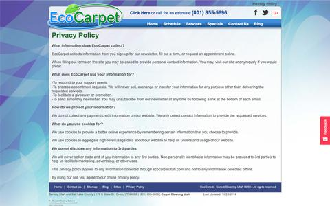 Screenshot of Privacy Page ecocarpetutah.com - EcoCarpet Cleaning Service - Privacy Policy - captured Sept. 27, 2018