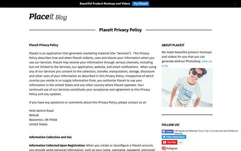 Screenshot of Privacy Page placeit.net - Placeit Privacy Policy - Placeit Blog - captured Aug. 2, 2017