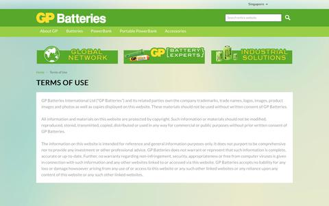 Screenshot of Terms Page gpbatteries.com - GP Batteries -  Terms of Use - captured March 11, 2018