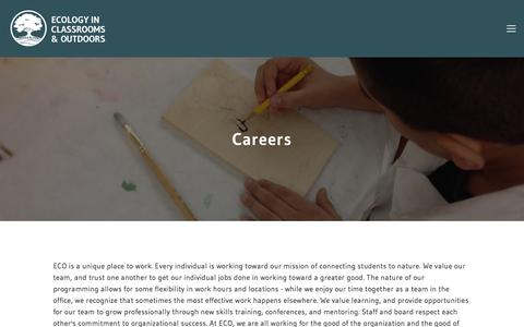 Screenshot of Jobs Page ecologyoutdoors.org - Careers — Ecology in Classrooms & Outdoors - captured July 15, 2017