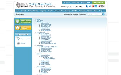 Screenshot of Site Map Page dna-worldwide.com - Sitemap of DNA Worldwide - DNA Test, Paternity, Ancestry & Genetic Testing Services - captured Oct. 5, 2014