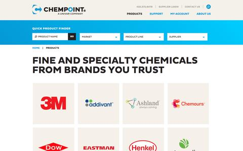 Screenshot of Products Page chempoint.com - Products - ChemPoint - captured July 17, 2018