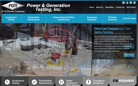 Screenshot of Home Page pgti.net - Home | Power & Generation Testing Inc - captured Jan. 30, 2016