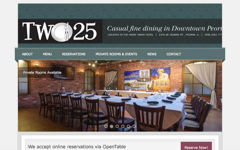 Screenshot of Home Page two25peoria.com - Welcome to Two25!   Two25 - captured Oct. 7, 2014
