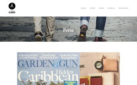 Screenshot of Press Page slightlyalabama.com - Press Ń Slightly Alabama - captured Jan. 12, 2016