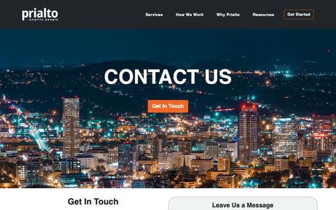Screenshot of Contact Page prialto.com - Contact Us - captured Jan. 27, 2019