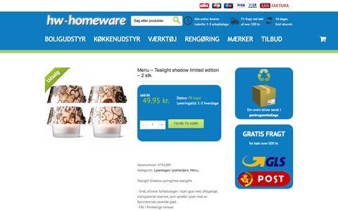 Screenshot of Menu Page hw-homeware.dk - Menu - Tealight shadow limited edition - 2 stk. - hw-homeware - captured Oct. 3, 2014