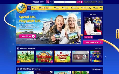 Screenshot of Home Page galabingo.com captured Feb. 17, 2016