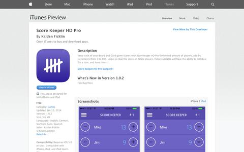Screenshot of iOS App Page apple.com - Score Keeper HD Pro on the App Store on iTunes - captured Oct. 25, 2014