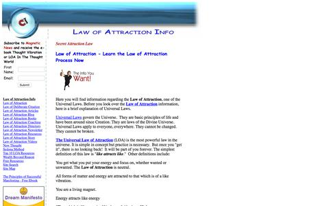 Screenshot of Home Page law-of-attraction-info.com - Law of Attraction | Learn the Law of Attraction Process Now - captured Sept. 12, 2015