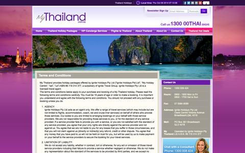 Screenshot of Terms Page mythailand.com.au - My Thailand Terms and Conditions - captured Oct. 9, 2014