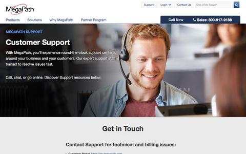 Screenshot of Support Page megapath.com - Customer Support | MegaPath - captured July 3, 2016