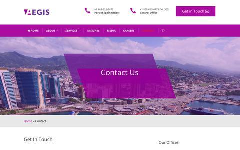 Screenshot of Contact Page aegistt.com - Contact — Aegis Outsourcing & Advisory Services, Trinidad & Tobago - captured Oct. 3, 2018