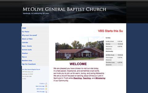 Screenshot of Home Page mtolivegbc.org - Mt.Olive General Baptist Church, Newburgh Indiana - captured June 14, 2016