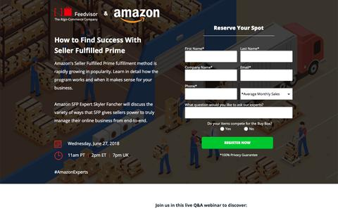 Screenshot of Landing Page feedvisor.com - Webinar: How to Find Success With Seller Fulfilled Prime - captured Sept. 20, 2018