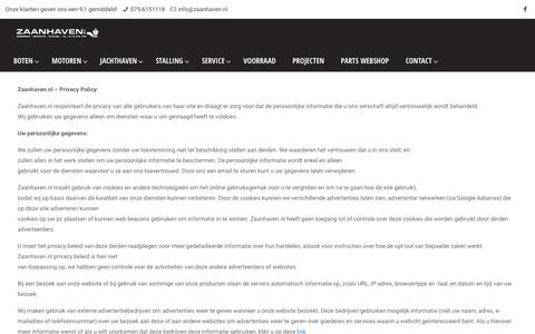 Screenshot of Privacy Page zaanhaven.nl - Zaanhaven Privacy Policy - captured Oct. 18, 2018
