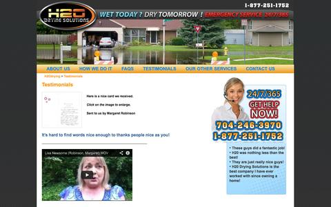 Screenshot of Testimonials Page h2odrying.com - H2Odrying :  | H2O Drying provides water extraction services, flood damage cleanup, water damage cleanup, and water cleanup. - captured Oct. 1, 2014
