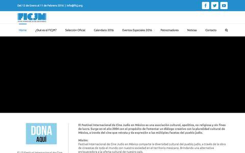 Screenshot of Home Page ficj.org - FICJM - Festival Internacional de Cine Judío en México - captured Feb. 9, 2016