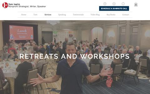 Screenshot of Services Page tomiselin.com - Retreats: Board and Staff - captured Oct. 4, 2018