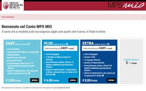 Screenshot of Login Page mps.it - Conto MPS MIO | Banca Monte dei Paschi di Siena - captured June 19, 2019