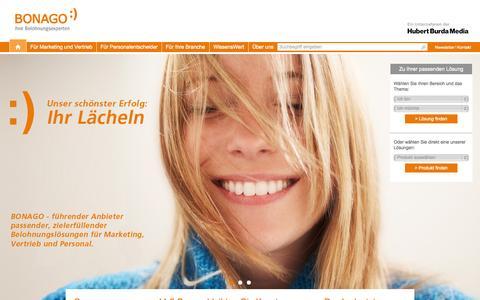 Screenshot of Home Page bonago.de - BONAGO - der Spezialist für Incentive Marketing - captured Sept. 25, 2014