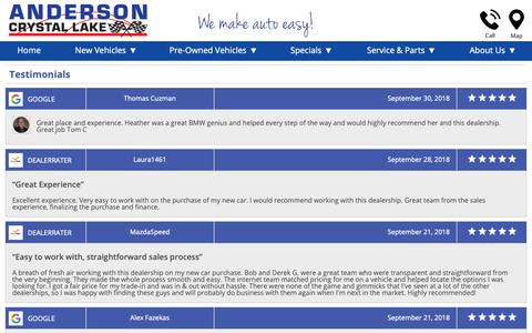 Screenshot of Testimonials Page andersoncars.com - Customer Reviews, Testimonials - Anderson Motor Company - captured Oct. 3, 2018