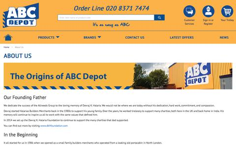 Screenshot of About Page abcdepot.co.uk - About ABC Depot - captured Oct. 6, 2017