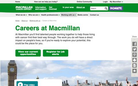 Screenshot of Jobs Page macmillan.org.uk - Careers at Macmillan - Working with us - Macmillan Cancer Support - captured Oct. 1, 2018
