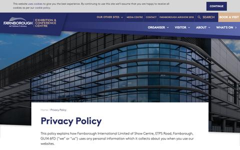 Screenshot of Privacy Page farnborough.com - Privacy Policy   Farnborough International Exhibition & Conference Centre - captured Oct. 4, 2018