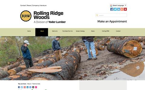 Screenshot of Testimonials Page rollingridgewoods.com - Rolling Ridge Woods Customer Reviews - captured Feb. 2, 2018