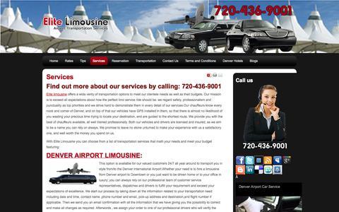 Screenshot of Services Page denver-elitelimousine.com - Dia Transportation Service  Denver Airport Taxi Service  Denver Car Service  Denver Airport Limousine - captured Sept. 30, 2014