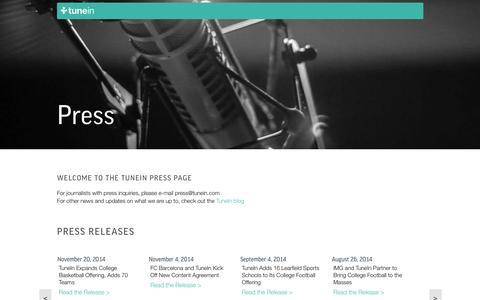 Screenshot of Press Page tunein.com - TuneIn Radio - captured June 16, 2015