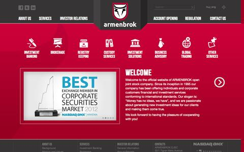 Screenshot of Home Page About Page Contact Page Services Page Site Map Page armenbrok.am - ARMENBROK - captured Oct. 4, 2014