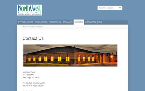 Screenshot of Contact Page northwestvisual.com - Contact Us - NorthWest Visual - captured Oct. 9, 2014
