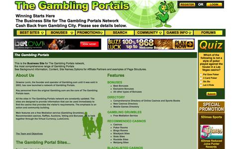 Screenshot of Home Page Contact Page thegamblingportals.com - THE GAMBLING PORTALS Winning Starts Here. The Gambling Portal Network for Recommended Online Casinos & Best Bonuses - captured Oct. 6, 2014
