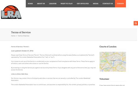 Screenshot of Terms Page thelba.co.uk - Terms of Service | London Basketball Association - captured Feb. 1, 2016